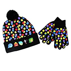 Disney Pixar Inside Out Youth Hat and Gloves Set (Black Inside Out)