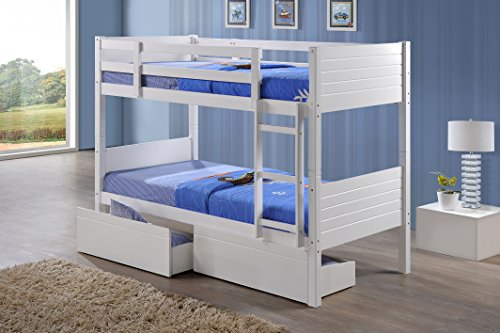Perfect ft Bedford Bunk Bed Frame With Underbed Drawers in White Rubber Wood Single Size