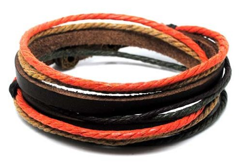 Adjustable Bracelet Cuff Made of Brown Leather Multicolour Ropes and Metal Woven Snapper 647s