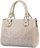 styleBREAKER Bowling Bag Handtasche mit Nieten Strass Applikation im Sternenhimmel Design, Damen 02012021