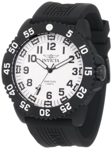 Invicta Pro Diver Men's Quartz Watch with White Dial Chronograph Display and Black PU Strap 0432