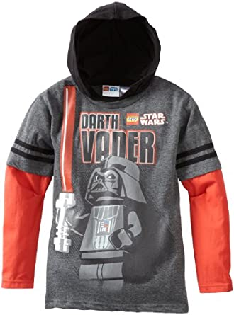 Star Wars Lego Big Boys' Hooded Doubler Tee, Grey/Red, Small