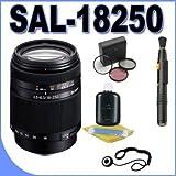 Sony SAL18250 Alpha DT 18-250mm f/3.5-6.3 High Magnification Zoom Lens w/Lens Hood + Filter Kit + Lens Pen Cleaner + lens Cleaning Kit BigVALUEInc Accessory Saver Bundle