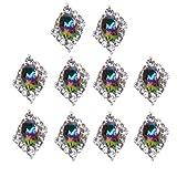 10 PCS 3D Arte Del Clavo Bling Diamantes De Imitación Decoraciones De Uñas - Plata Verde-5, /