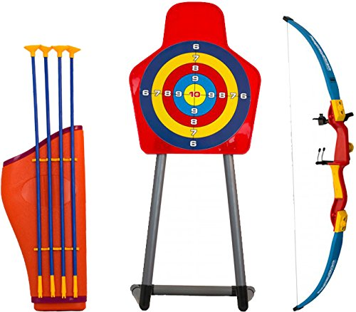 kids-toy-bow-arrow-holder-archery-set-with-target-outdoor-garden-fun-game