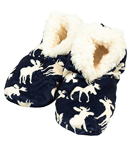 Lazy One Women's Blue Moose Fuzzy Feet Slippers Classic (Small / Medium) (Lazy One Fuzzy Feet compare prices)