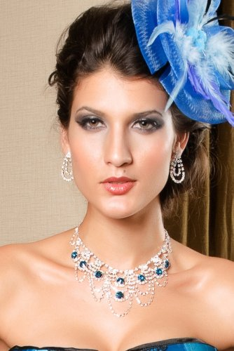Sexy Women's Blue Rhinestone Necklace & Earrings Set Fashion Costume Jewellery