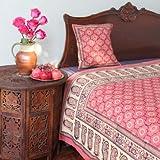 India Rose ~ Luxury Pink Floral Indian Sari Print King Duvet 108x90
