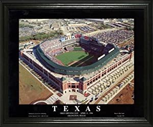 Texas Rangers - Ballpark in Arlington Aerial - Day - Lg - Framed Poster Print by Laminated Visuals