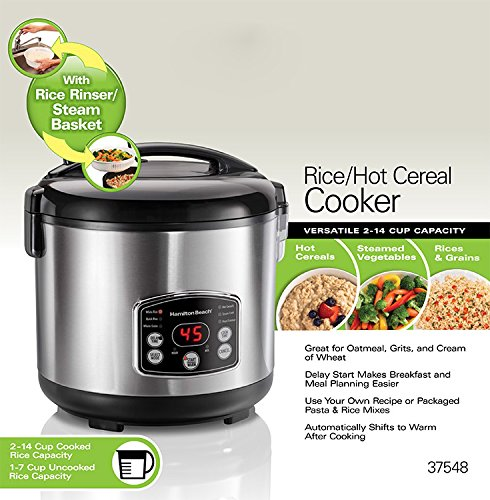 Hamilton Beach 37548 Rice & Hot Cereal Cooker, Stainless Steel via Amazon