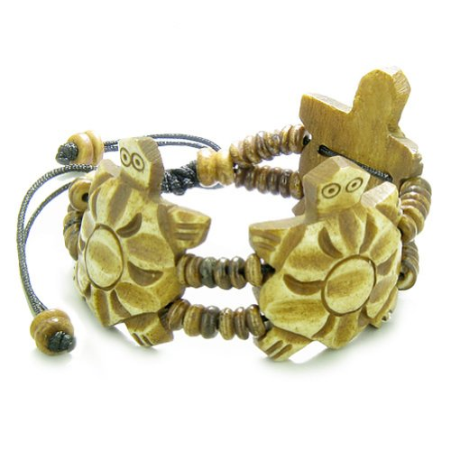 Amulet Original Tibetan Three Turtle Natural Carved Lucky Charms Bracelet