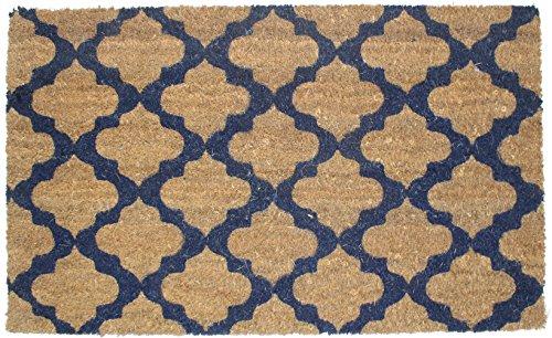 "J & M Home Fashions Moroccan Blue Vinyl Back Coco Doormat, 18"" x 30"""
