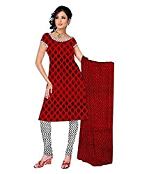 RockChin Fashions Red Pure Cotton Printed Dress Material