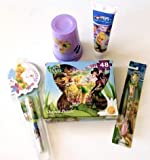 Sweet Life Gift Baskets - Disney Fairies Tinkerbell Puzzle - Cups - Pen and Notepad - Tinkerbell Toothbrush and Toothpaste Holidays Gift Set Best Black Friday Deal!