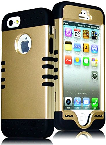 Mylife Black - Golden Shield Series (Neo Hypergrip Flex Gel) 3 Piece Case For Iphone 5/5S (5G) 5Th Generation Smartphone By Apple (External 2 Piece Fitted On Hard Rubberized Plates + Internal Soft Silicone Easy Grip Bumper Gel)