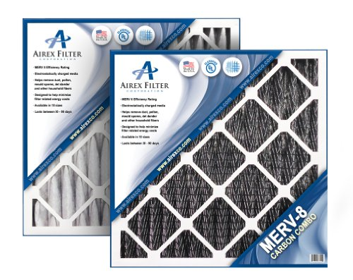 Airex 16x20x2 Carbon MERV 8 Pleated AC Furnace Air Filter, Box of 3 - Actual Size: 15 ½ X 19 ½ X 1 ¾