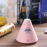Foxwill™ Volcano Ultrasonic Humidifier 160ML USB Mini Humidifier, Cool Volcano Design & Touch Sensitive Switch With 7 Colors Breathing Nightlight Ideal for Office,Baby Room,Bedroom,Aromatherapy Spa etc (Pink)