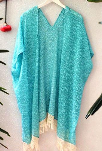 Zkess Women's Beach Bohemian Printing Kimono Beachwear One Size Blue