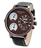 MZI Watch co. MiletusLBrBr Men's XXL 55 mm Automatic Brown Plated Stainless Steel Case and Leather Band Wrist Watch with Temperature and Humidity Display