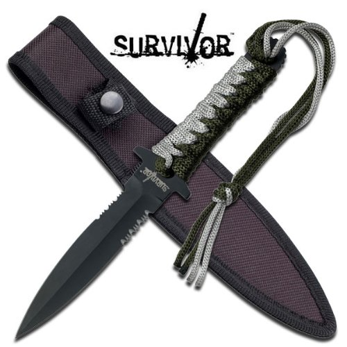 """Master Cutlery HK-763 10"""" Fixed Blade Knife, Tan and Green Cord Wrap Handle with Nylon Sheath"""