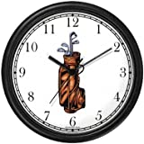 Golf Bag with Clubs - Golf Theme Wall Clock by WatchBuddy Timepieces (Black Frame)