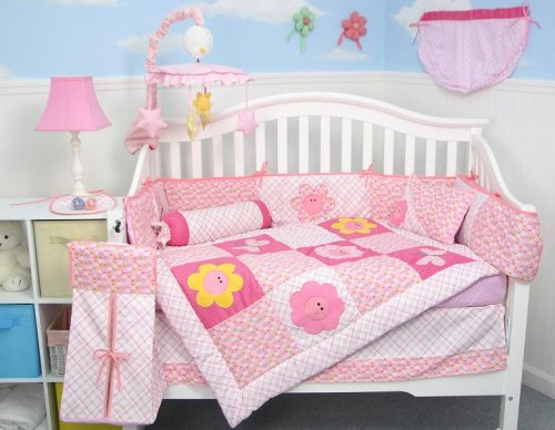 Mirabella Garden Pink Baby Crib Nursery Bedding Set 10pcs