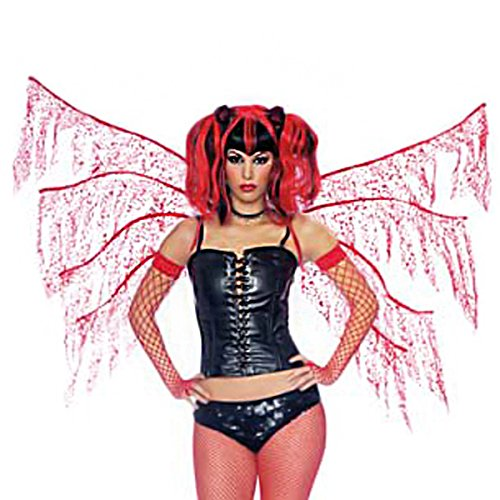 Red Shredded Fairy Wings Costume Accessory 8 Spoke Wings with Shoulder Straps