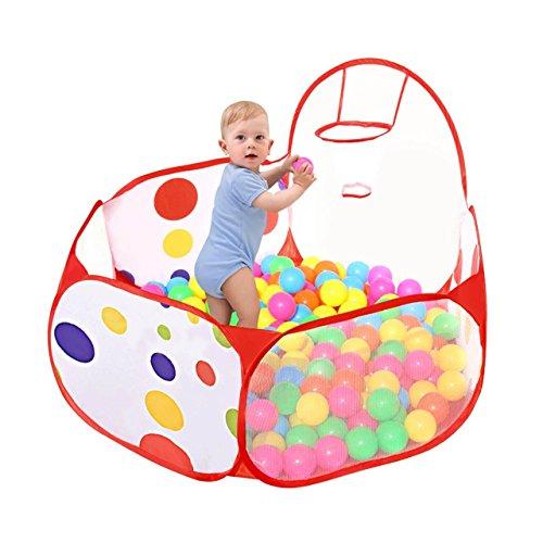 Taotree-Beweglicher-Hexagon-Kinder-Baby-Bllebad-Ballpool-Pool-Bllepool-Drinnen-und-drauen-Kinder-Spielzeug-Spiel-Zelt-mit-Rot-Reiverschluss-Aufbewahrungstasche-fr-Kindergeschenke-12M-Basketball-Pool