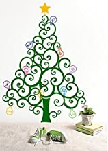 PopDecors - Christmas Tree with Colorful Bulbs - Custom Beautiful Tree Wall Decals for Kids Rooms Te