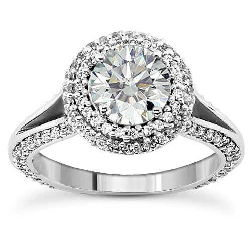 1.60 CT TW Diamond Encrusted Halo Engagement