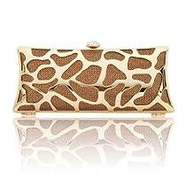 Damara Womens Hardcase Shinny Clutch Evening Bag (Brown)