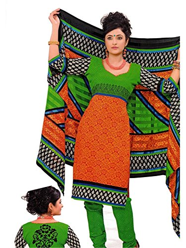 Rangoli Rangoli Womens Synthetic Dress Material (Gurukrupa11 -Orange -Free Size)
