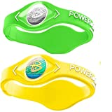 Power Balance Silicone Sports Wristbands-Lime-PB-Neon-Yellow-M-Pack-of-2