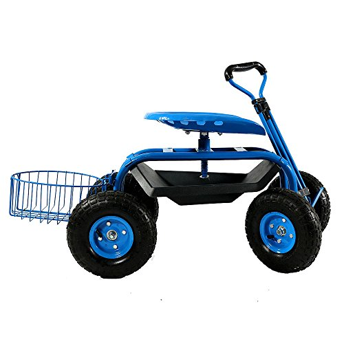 Sunnydaze Blue Rolling Garden Cart With Extendable Steering Handle Swivel Seat Planter Basket