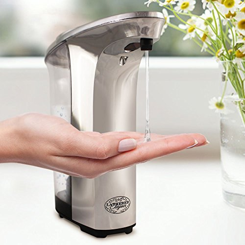 Premium Automatic Touchless Soap Dispenser by Lathered Elegance -- Great for Hand Sanitizer & Hand Lotion, Too -- Perfect for Bathroom, Kitchen, Home or Office (17 oz / 500ml) Silver / Chrome
