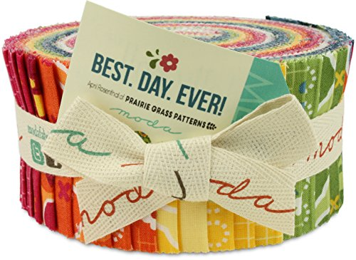 Moda Best. Day. Ever! Jelly Roll, Set of 40 2.5x44-inch (6.4x112cm) Precut Cotton Fabric Strips