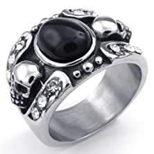 buy Aooaz Stainless Steel Biker Skull Death Head Oval Black Onyx Ring For Men Silver Black Us Size 14