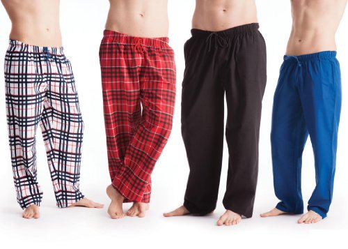 2 Pack : Mens Trendy Nightwear Flannel Long Pants Pyjama Bottoms in Various Colours [Blue White, Ex-Large]