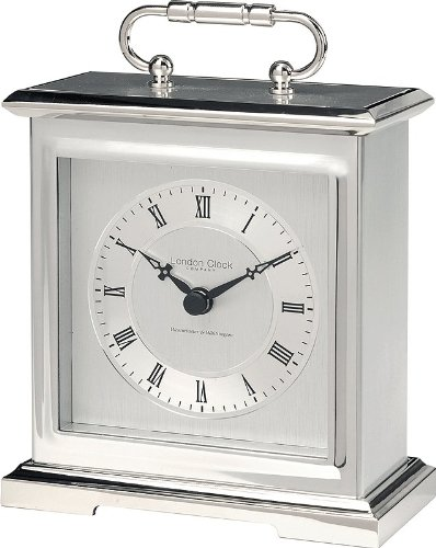 Chrome finished metal case quartz mantle clock with Westminster/Whittington and silent switch. 16cm by London Clock Company