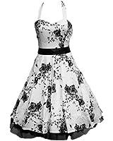 50's White & Black Floral Dress