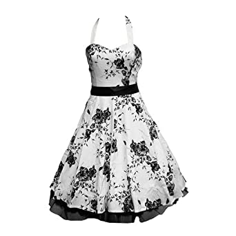 50's Dress Halterneck White & Black Floral - Size 8 (XS)