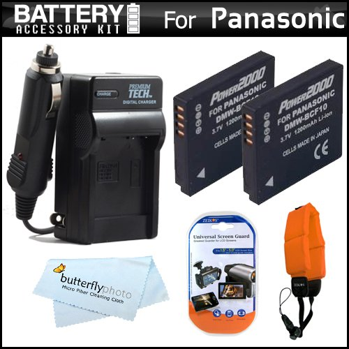 2 Pack Battery And Charger Kit For Panasonic Lumix Dmc-Ts4, Dmc-Ts3 Digital Camera Includes 2 Extended Replacement (1200Mah) Dmw-Bcf10 Batteries + Ac/Dc Rapid Travel Charger + Floating Strap + Lcd Screen Protectors + Microfiber Cleaning Cloth