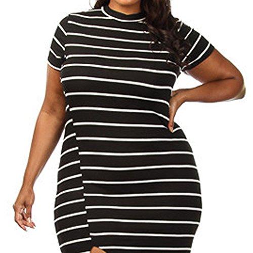 meinice Plus Size Bianco Nero a righe fessura maxi dress Black Large