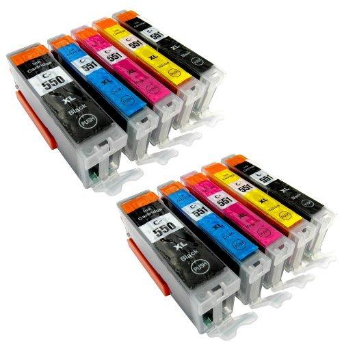 10 Youprint® YP-PGI550XL YP-CLI551XL Druckerpatronen MIT CHIP und Füllstandanzeige für Canon Pixma iP7250, MG5450, MG6350, MX725, MX925, kompatibel zu PGI550BK , CLI551C , CLI551M, CLI551Y und CLI551BK
