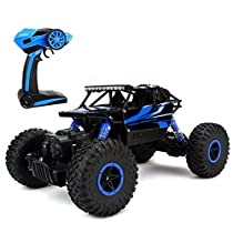 Bestale RC Rock Off-Road Vehicle 2.4Ghz 4WD High Speed Racing Cars 1:18 Remote Radio Control Cars Electric Rock Crawler Electric Buggy Hobby Car Fast Race Crawler Truck (Blue)