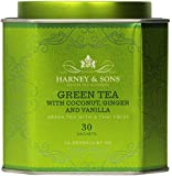 Harney and Sons Green Tea with Coconut , Flavored Green 30 Sachets per Tin