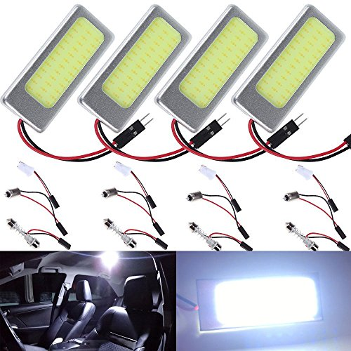 4-Pack AMAZENAR® Aluminum White COB 36-SMD LED Panel Dome Lamp Auto Car Interior Reading,Plate Light,Roof Ceiling,Map Lamp with BA9S Adapter,T10 Adapter,Festoon Adapter(31mm-41mm) (DC-12V)