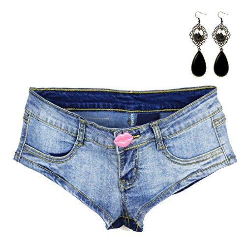 Sitengle Donna Jeans Pantaloncini Sexy Vita Bassa Hot Pants Sexy Rossa Labbra Denim Hot Pants Estate Pantaloni