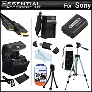 Essential Accessories Kit For Sony Cyber-shot DSC-HX200V Digital Camera Includes Extended Replacement (1000 maH) NP-FH50 Battery + AC/DC Travel Charger + Mini HDMI Cable + USB 2.0 Card Reader + Deluxe Case + 50