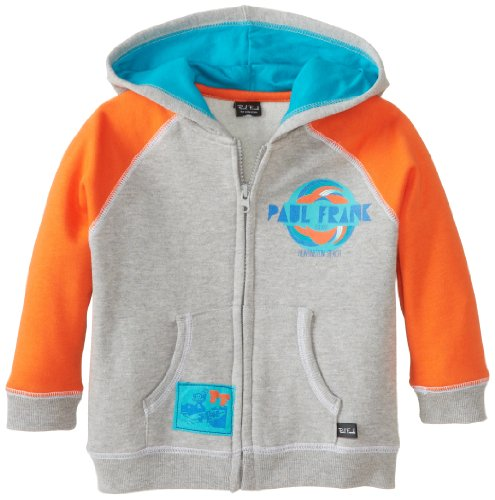 Paul Frank Little Boys' Toddler Surf Hoodie, Grey Heather, 3T front-920130